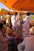 Tracey Emin in front of Siobhan Hewlett. Veuve Clicquot Gold Cup Final at Cowdray Park. Midhurst. 17 July 2005. ONE TIME USE ONLY - DO NOT ARCHIVE  © Copyright Photograph by Dafydd Jones 66 Stockwell Park Rd. London SW9 0DA Tel 020 7733 0108 www.dafjones.com