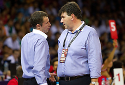 Assistant coach Miro Alilovic and Head coach of Slovenia Memi Becirovic during the Preliminary Round - Group B basketball match between National teams of USA and Slovenia at 2010 FIBA World Championships on August 29, 2010 at Abdi Ipekci Arena in Istanbul, Turkey.  (Photo by Vid Ponikvar / Sportida)