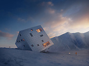 A cube that isn't square! Plans for stunning futuristic mountain lodge made to look like a retreating glacier unveiled in Slovakia<br /> <br /> It might look like a child's toy thrown into the snow, but this is the stunning design for a ski lodge.<br /> <br /> Czech architecture firm Atelier 8000 has proposed an incredibly unique take on a typical mountain accommodation - and the designs are spectacular.<br /> <br /> Their Kežmarské Hut, a concept designed for an international competition, is a futuristic, sustainable structure made of aluminum, glass and solar panels.<br /> <br /> Oh, and did we mention that it's a cube that has been entirely rotated onto one of its corners?<br /> <br /> The contemporary building is intended to be situated high in the High Tatra Mountains and will be able to function completely off the grid, even at such a high altitude.<br /> <br /> Designed to merge into the mountainous background, almost as if part of a retreating glacier, the construction amplifies the use of light and shadows - much like that which can be observed on neighbouring rocks.<br /> <br /> The shape of the hut allows the building to utilise solar energy to the maximum possible extent, with the panels that generate energy facing southwards and eastwards.<br /> <br /> Perfect for adventurous hikers and travellers, the five-storey building includes extensive ski storage space, two floors of guest rooms, an attic meditation room, a restaurant and a deck. <br /> <br /> Plus, its orientation provides plenty of intimate corners where visitors can relax and enjoy breathtaking views.<br /> <br /> In the warmer months, guests will be able to relax on the hotel's patio, which wraps around two of the building's sides.<br /> ©A8000/Exclusivepix