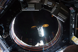 May 24, 2018 - Space - This view taken from inside the Cupola shows the Orbital ATK space freighter approaching its capture point about 10 meters from the International Space Station where it was grappled with the Canadarm2 robotic arm. (Credit Image: ? NASA/ZUMA Wire/ZUMAPRESS.com)
