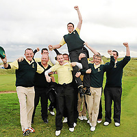 16 September 2011; Eoghan O'Loughlin, Team captain, Woodstock Golf Club, Co. Clare, is carried shoulder high by team members after the Pierce Purcell Shield Final against Corrstown Golf Club, Co. Dublin. Chartis Cups and Shields Finals 2011, Castlerock Golf Club, Co. Derry. Picture credit: Oliver McVeigh/ SPORTSFILE *** NO REPRODUCTION FEE ***