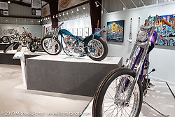 Ben Zales' (aka Ben the Boog) Blue Crush Boog custom 1963 Harley-Davidson Panhead on view in the What's the Skinny Exhibition (2019 iteration of the Motorcycles as Art annual series) at the Sturgis Buffalo Chip during the Sturgis Black Hills Motorcycle Rally. SD, USA. Friday, August 9, 2019. Photography ©2019 Michael Lichter.