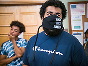 12 JUNE 2020 - DES MOINES, IOWA: JAYLEN CAVIL, a member of Black Lives Matter, leads a protest in the Iowa State Capitol. About 75 activists from Black Lives Matter came to the Iowa State Capitol in Des Moines Friday to talk to Iowa Governor Kim Reynolds. They've been trying to meet with Gov. Reynolds all week. She made time for them Friday and met with 5 representatives of the organization without any media in the room. They wanted to talk to her about police violence against African-Americans and racial disparities in Iowa's justice system. While the 5 met with the Governor, the remaining activists picketed the hall in front of her office and chanted.     PHOTO BY JACK KURTZ