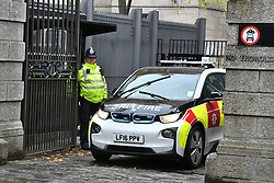 © Licensed to London News Pictures. 04/11/2019. London, UK. An Incident Response Unit at Derby Gate entrance to The Houses of Parliament in Westminster. There are reports that a section of Portcullis House has been cordoned off by emergency services after white powder was delivered To the office of Liberal Democrat Leader Jo Swinson. A general election has been called on December 12th in an attempt to get a Brexit agreement through parliament. Photo credit: Ben Cawthra/LNP