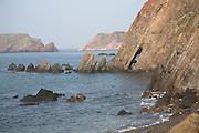 Tilted rock strata Marloes Peninsula Pembrokeshire national park, Wales
