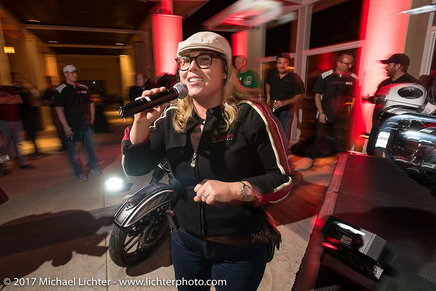 Indian Motorcycles event MC Jacqui Van Ham at the Indian new bike reveal party at the Hilton Hotel during Daytona Bike Week. Daytona Beach, FL, USA. Friday March 10, 2017. Photography ©2017 Michael Lichter.