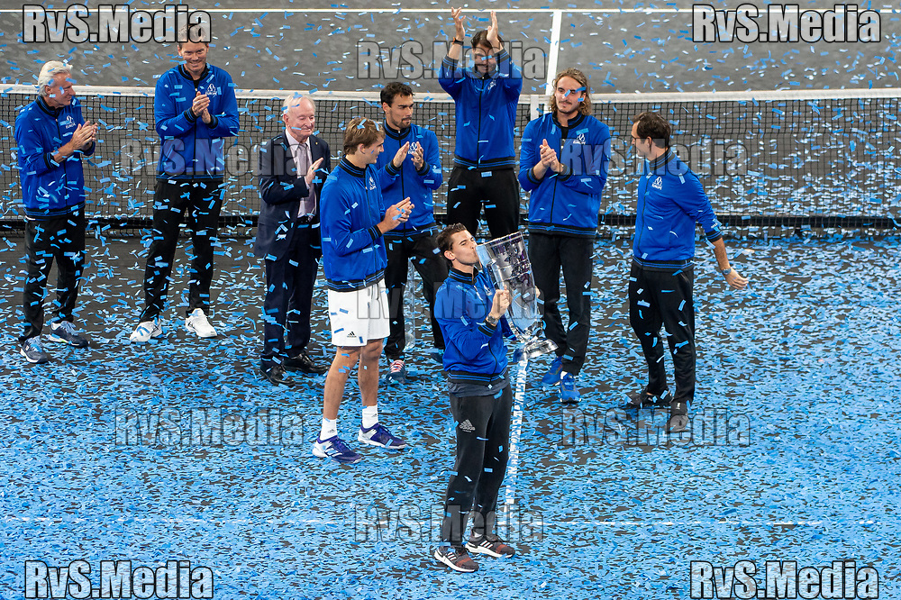 GENEVA, SWITZERLAND - SEPTEMBER 22: Dominic Thiem of Team Europe celebrates with the trophy during Day 3 of the Laver Cup 2019 at Palexpo on September 20, 2019 in Geneva, Switzerland. The Laver Cup will see six players from the rest of the World competing against their counterparts from Europe. Team World is captained by John McEnroe and Team Europe is captained by Bjorn Borg. The tournament runs from September 20-22. (Photo by Monika Majer/RvS.Media)