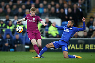 Kevin De Bruyne of Manchester city is tackled by Jazz Richards of Cardiff city (r).   The Emirates FA Cup, 4th round match, Cardiff city v Manchester City at the Cardiff City Stadium in Cardiff, South Wales on Sunday 28th January 2018.<br /> pic by Andrew Orchard, Andrew Orchard sports photography.