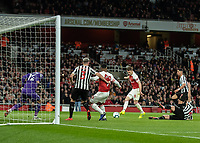Football - 2018 / 2019 Premier League - Arsenal vs. Newcastle United<br /> <br /> Aaron Ramsey (Arsenal FC) slides home from close range only to his goal disallowed at The Emirates.<br /> <br /> COLORSPORT/DANIEL BEARHAM