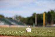 16 May 2016: An official ACC league baseball lies in the infield. The University of North Carolina Tar Heels hosted the University of Notre Dame Fighting Irish in an NCAA Division I Men's baseball game at Boshamer Stadium in Chapel Hill, North Carolina.