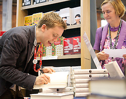 Labour Party Conference<br /> at Manchester Central, Manchester, Great Britain <br /> 24th September 2014 <br /> <br /> Owen Jones booking signing <br /> The Establishment: And how they get away with it <br /> <br /> Photograph by Elliott Franks <br /> Image licensed to Elliott Franks Photography Services
