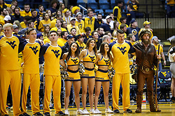 Feb 24, 2018; Morgantown, WV, USA; West Virginia Mountaineer cheerleaders celebrate after beating the Iowa State Cyclones at WVU Coliseum. Mandatory Credit: Ben Queen-USA TODAY Sports