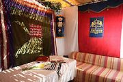 Interior of a Sukkah during Sukkoth