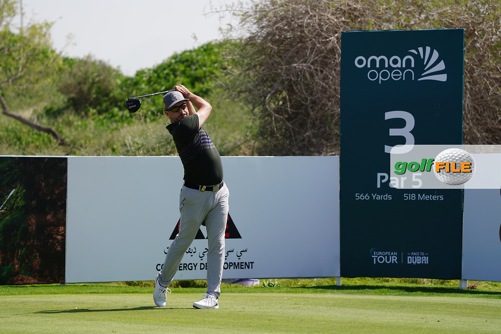Mikko Korhonen (FIN) on the 3rd during Round 2 of the Oman Open 2020 at the Al Mouj Golf Club, Muscat, Oman . 28/02/2020<br /> Picture: Golffile   Thos Caffrey<br /> <br /> <br /> All photo usage must carry mandatory copyright credit (© Golffile   Thos Caffrey)