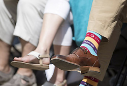Prime Minister Justin Trudeau wears Ramadan-themed socks at a Faith and Pride church service in Toronto, Sunday, June 25, 2017. Photo by Mark Blinch/CP/ABACAPRESS.COM  | 597740_005 Toronto Canada