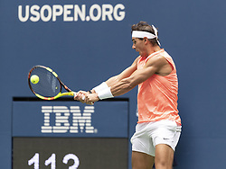 August 31, 2018 - New York, New York, United States - Rafael Nadal of Spain returns ball during US Open 2018 3rd round match against Karen Khachanov of Russia at USTA Billie Jean King National Tennis Center (Credit Image: © Lev Radin/Pacific Press via ZUMA Wire)