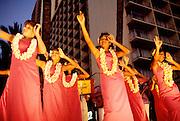 Aloha Weeek, Hula dancers in Waikiki, Oahu, Hawaii