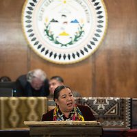 Navajo Nation Council Delegate Amber Kanazbah Crotty, presents his platform for speaker to the Navajo Nation Council, Monday, Jan 28 on the first day of the winter session in Window Rock, Ariz. Crotty was one of four nominees for speaker of the Navajo Nation Council.