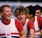 Bled, Slovenia, YUGOSLAVIA. GBR M8+,  second left Jonny SEARLE, 1989 World Rowing Championships, Lake Bled. [Mandatory Credit. Peter Spurrier/Intersport Images]