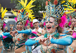 © Licensed to London News Pictures. 27/08/2012 London, England. Pictured: performers from the London School of Samba. Notting Hill Carnival 2012, the largest street festival in Europe, gets its parade on Adults' Day under way. Photo credit: Bettina Strenske/LNP