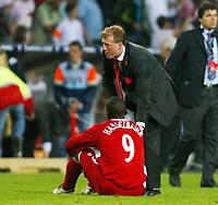 Photo: Chris Ratcliffe.<br /> Middlesbrough v Sevilla. UEFA Cup Final. 10/05/2006.<br /> Boro boss Steve McLaren consoles Jimmy Floyd Hasselbaink.