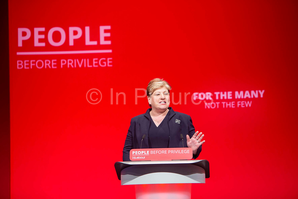 Emily Thornberry Labour MP and Shadow Foreign secretary speaks on the third day of the Labour Party conference on Monday, September 23rd, 2019 in Brighton, United Kingdom.