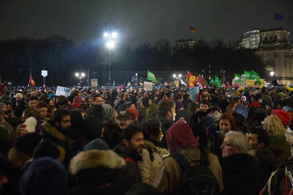 Berlin, Germany - 12.01.2014<br /> <br /> Thousands of people take part in a demonstration against a xenophobic Baergida (Pegida in Berlin) protest. <br /> <br /> Tausende Menschen beteiligen sich an einer Demonstration gegen einen fremdenfeindlichen Baergida (Pegida in Berlin) Protest. <br /> <br /> Photo: Bjoern Kietzmann