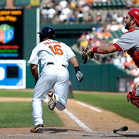 01 July 2007:  Baltimore Orioles left fielder Jay Payton (16) successfully bunts for a hit in the 9th inning moving third baseman Melvin Mora to third base asd Los Angeles Angels catcher Mike Napoli (44) comes up to field the ball.  The Angels defeated the Orioles 4-3 at Camden Yards in Baltimore, MD.   ****For Editorial Use Only****