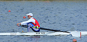 Reading. United Kingdom.  GBR LM1X, Zak LEE-GREEN, in the opening strokes of the morning time trial. 2014 Senior GB Rowing Trails, Redgrave and Pinsent Rowing Lake. Caversham.<br /> <br /> 10:11:27  Saturday  19/04/2014<br /> <br />  [Mandatory Credit: Peter Spurrier/Intersport<br /> Images]