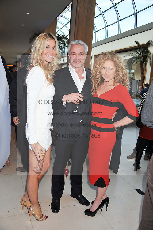 Left to right, MELISSA ODABASH, JOHN GARDINER and KELLY HOPPEN at a VIP dinner hosted by Maserati following the unveiling of the new Maserati 'Quattroporte' at The Hurlingham Club, London on 17th April 2013.