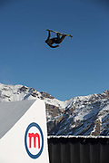 Great British freestyle skier Tyler Harding from GB Park & Pipe, the freestyle Ski and Snowboard Olympic development team, at their brand new winter training facility in Mottolino Snow Park on 7th December 2017 in Livingo, Italy. The Big Air Bag is the first of its kind and has been developed by the GB Park & Pipe's Hamish McKnight and Lesley McKenna. The air bag was built by BigAirBag company from Holland.