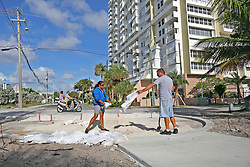 Liz Hankins and James Kiernan, of North Lauderdale, fill trash bags with sand on Pompano Beach in preparation for Hurricane Irma on Friday, September 8, 2017. Photo by Amy Beth Bennett /Sun Sentinel/TNS/ABACAPRESS.COM
