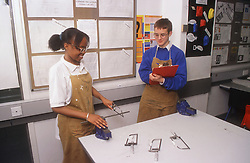 Secondary school pupils in design and technology lesson,