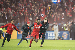 December 9, 2017 - Toronto, Ontario, Canada - Toronto FC forward JOZY ALTIDORE (17) runs on the field after the game to celebrate winning the MLS Cup championship match at BMO Field in Toronto, Canada.  Toronto FC defeats Seattle Sounders 2 to 0. (Credit Image: © Mark Smith via ZUMA Wire)
