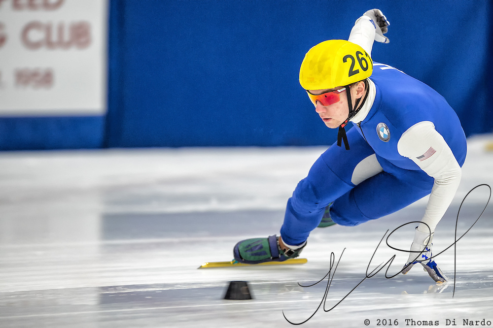March 18, 2016 - Verona, WI - Ryan Pivirotto, skater number 261 competes in US Speedskating Short Track Age Group Nationals and AmCup Final held at the Verona Ice Arena.