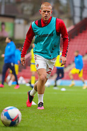 Charlton Athletic midfielder Ben Watson (26) warming up prior to the EFL Sky Bet League 1 match between Charlton Athletic and AFC Wimbledon at The Valley, London, England on 12 December 2020.