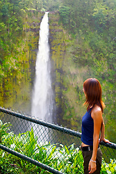 tourist visiting Akaka Falls, drop 420 feet, Akaka Falls State Park, Hilo, Big Island, Hawaii