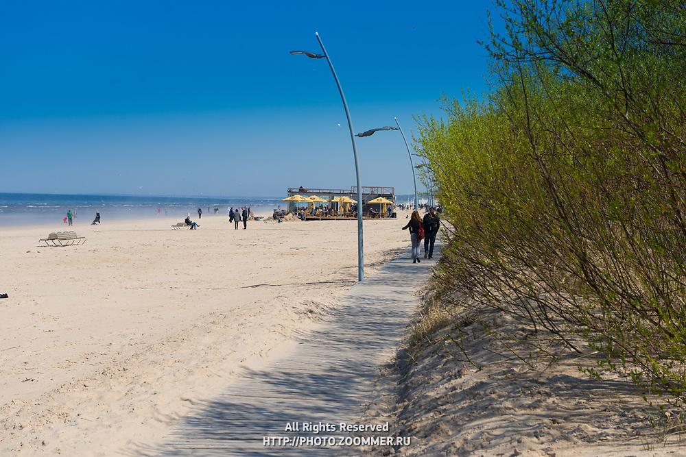 Boardwalk near beach in Jurmala, Latvia