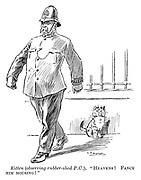 "Kitten (observing rubber-shod P.C.). ""Heavens! Fancy him mousing!"""