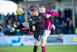Clyde's David Goodwillie and Arbroath's Thomas O'Brien. Arbroath 0 v 2 Clyde, Tunnocks Caramel Wafer Challenge Cup 4th Round, played 12/10/2019 at Arbroath's home ground, Gayfield Park.