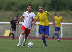 May 31, 2018 - London, England, United Kingdom - L-R Petamnics Sierg of Karpatalya and  Gok UGUR of Northern Cyprus .during Conifa Paddy Power World Football Cup 2018  Group B match between Northern Cyprus against Karpatalya at Queen Elizabeth II Stadium (Enfield Town FC), London, on 31 May 2018  (Credit Image: © Kieran Galvin/NurPhoto via ZUMA Press)