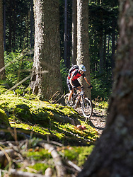Man cycling in the woods near the commune of Munster, France