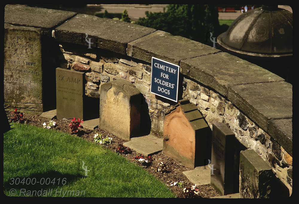 Cemetery of soldiers' dogs is nestled in the high ramparts of Edinburgh Castle; Edinburgh. Scotland