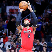 27 December 2014: Toronto Raptors forward James Johnson (3) takes a jump shot during the Toronto Raptors 110-98 victory over the Los Angeles Clippers, at the Staples Center, Los Angeles, California, USA.