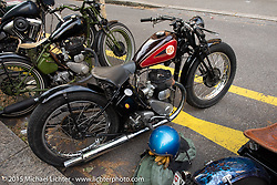 The street in front of the Art and Wheels art and motorcycle show in the M45 gallery in Basel, Switzerland. May 16, 2015. Photography ©2015 Michael Lichter.