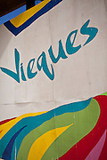 Vieques sign in Isabel Segunda town square on Vieques Island, Puerto Rico.