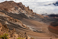 A shot looking into the crater of the Haleakala volcano up above the clouds