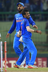 August 24, 2017 - Kandy, Sri Lanka - Indian captain Virat Kohli  and Yuzvendra Chahal celebrate after taking the wicket of Sri Lanka's Danushka Gunathilaka during the 2nd One Day International cricket match between Sri Lanka and India at the Pallekele international cricket stadium at Kandy, Sri Lanka on Thursday 24 August 2017. (Credit Image: © Tharaka Basnayaka/NurPhoto via ZUMA Press)