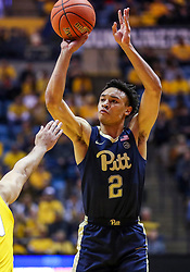Dec 8, 2018; Morgantown, WV, USA; Pittsburgh Panthers guard Trey McGowens (2) shoots a three pointer during the first half against the West Virginia Mountaineers at WVU Coliseum. Mandatory Credit: Ben Queen-USA TODAY Sports