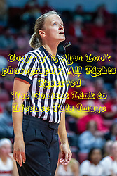 NORMAL, IL - November 20:  Referee Molly Caldwell watches a free throw while the ball is in the air during a college women's basketball game between the ISU Redbirds and the Huskies of Northern Illinois November 20 2019 at Redbird Arena in Normal, IL. (Photo by Alan Look)